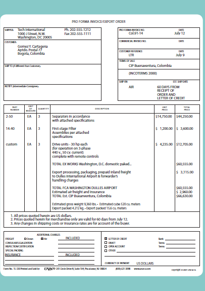 Quotes Pro Forma Invoices Stopfakes Gov Intellectual Property Rights Resources And Assistance